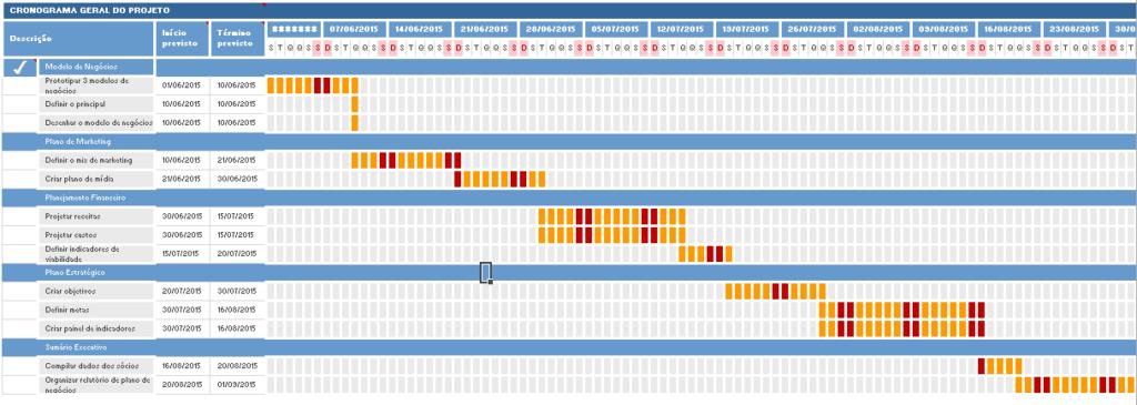 cronograma do projeto de consultoria completo