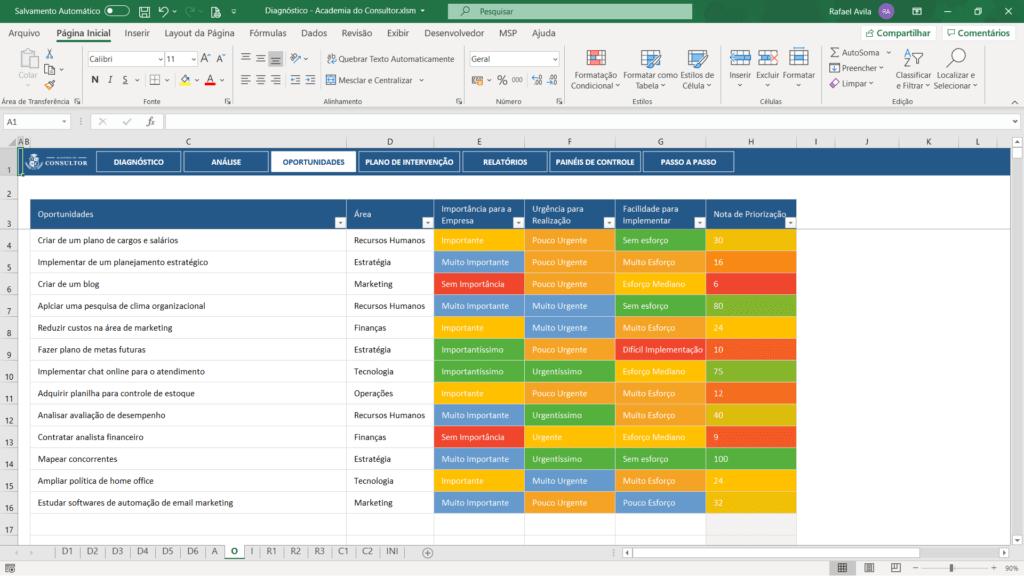 planilha de diagnóstico empresarial para consultores - oportunidades