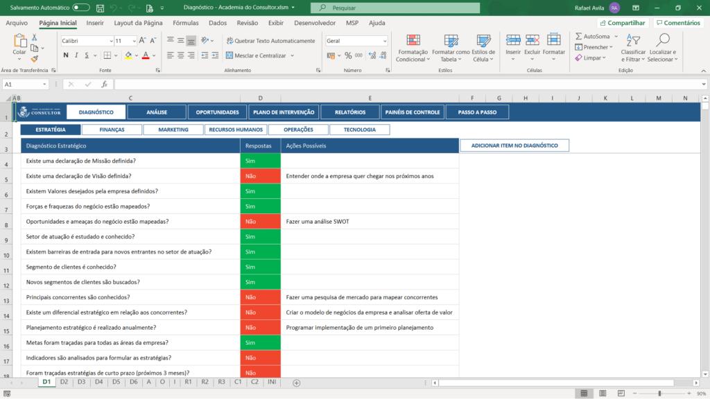 planilha de diagnóstico empresarial para consultores - perguntas