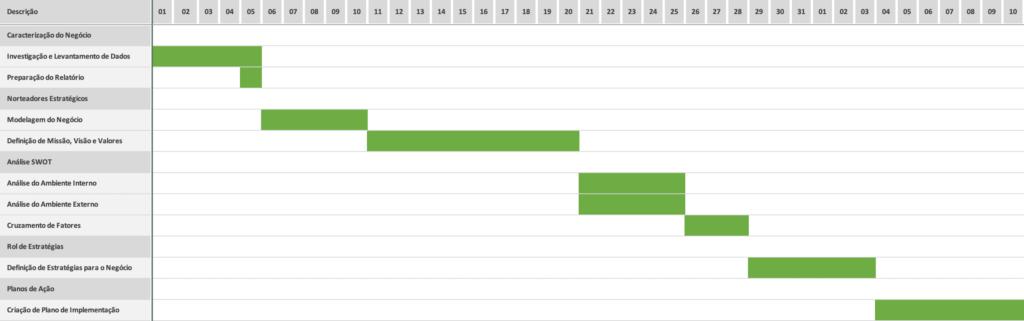 Consultoria em Planejamento Estratégico - Cronograma Exemplo
