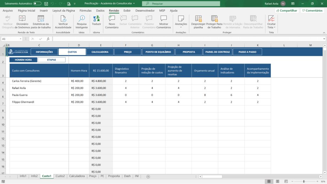planilha de precificação de projetos de consultoria - custos