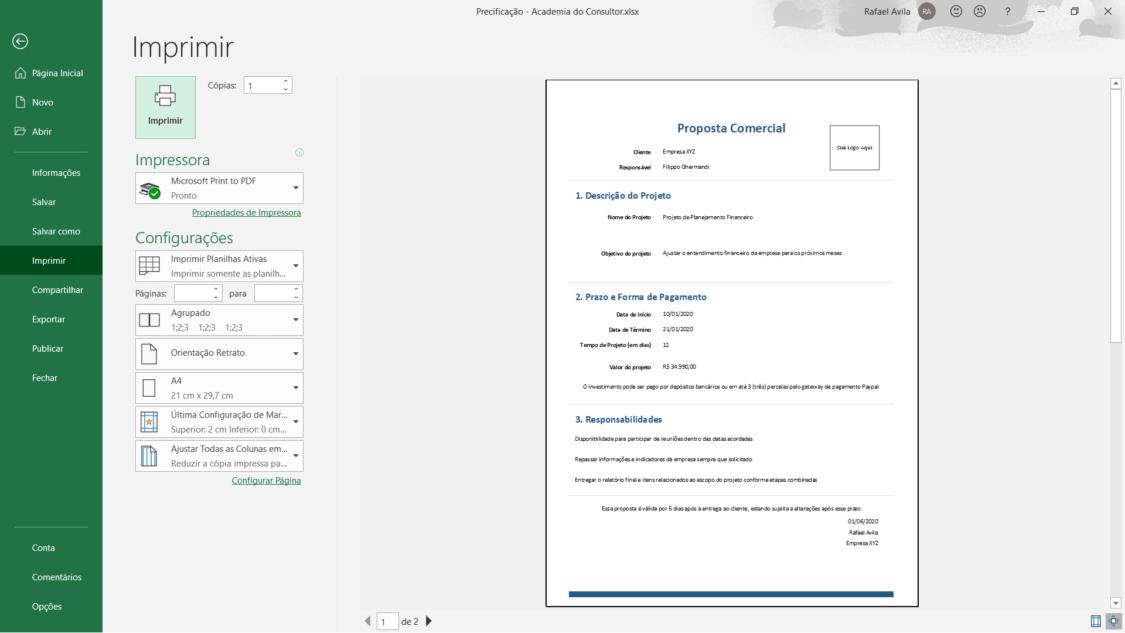 planilha de precificação de projetos de consultoria - proposta